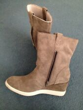 CAT caterpillar real suede womens wedge boots grey, UK 7, ex cond