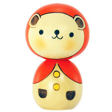 Japanese Usaburo Kawaii Bear w/ Orange Hood Kokeshi Wooden Doll, Made in Japan