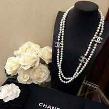 Chanel Classl Embellised 3 CC Crystal  White Pearl Long Necklace