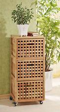 Rollcontainer, Regal Wäschebox Schrank aus Walnuss Holz