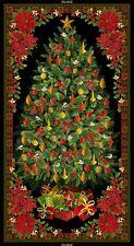 "23"" Fabric Panel - Timeless Treasures Metallic Red & Green Christmas Tree Scene"