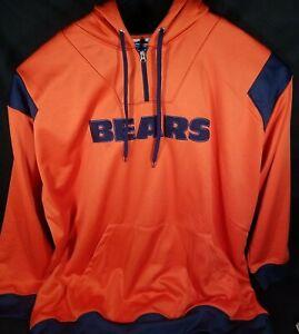 Majestic Chicago Bears 4XL Hoodie Football Orange Blue Big Tall Sweater