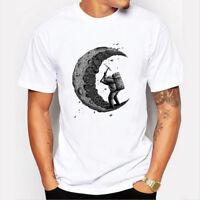 Digging the moon Funny T-Shirt Men Custom Printed Tops Comfortable Short Sleeve