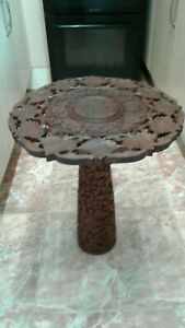 Antique, Vintage Carved Indian Table  VGC    Rare