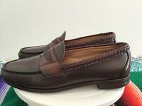 Allen Edmonds Newcastle 52921 Brown Woven Penny Loafers USA Men's US 8.5 D
