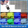 12Pcs Multi Color Flexible Strip RGB Motorcycle ATV LED Light Lamp NEON Remote
