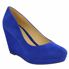 Ladies Womens Platforms Wedges PUMPS Work Court Shoes Size 7 Mid High HEELS