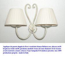 Lampe applique double mural en fer déco or; abat-jour cône tressé d16