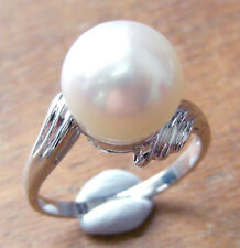 13.1mm! AUST SOUTH SEA WHITE PEARL UNTREATED +18ct WHITE GOLD RING +APPRAISAL