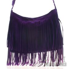 Women's Faux Leather Casual Trendy Large Suede Tassel Crossbody Fringe Bag Purse