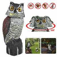 Fake Head Owl Decoy Rotating Repellent Pest Bird Control Scarecrow Scarer Garden