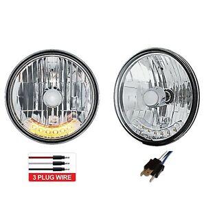 "7"" Halogen Amber 6-LED Turn Signal Headlamp Headlight Running Lights Bulbs Pair"