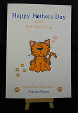 Personalised Handmade Happy Fathers Day Card from the Cat