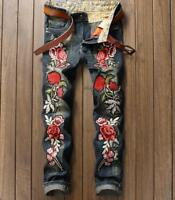 fashion Men Embroidery  Badge Patch Floral skinny fit Denim jeans pants trousers