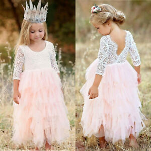 US Stock Lace Flower Girl Baby Dress Birthday Party Backless Tulle Wedding Gown