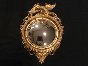 Vintage Syroco Federal Eagle Mirror Gold-tone Round Convex 13 Colonies #4007