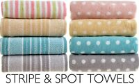Allure Luxury 100% Cotton Stripe & Spot Pattern Bathroom Bath Towel Hand Sheet