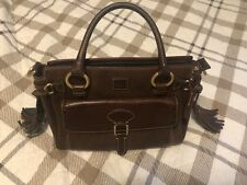 Dooney & Bourke Brown Leather Handbag Florentine Pocket Satchel  Medium Tassels