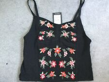 LOOK Black Cami Top With Embroidered Flowers Size 6
