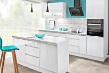 Küche Küchenzeile weiss grifflos mit Insel Soft Close individuell stellbar