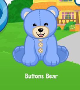 Webkinz Buttons Bear Virtual PET Adoption Code Only Messaged Webkinz Buttons Pet