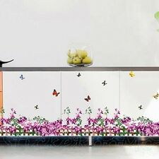 PURPLE FLOWERS BUTTERFLIES ROOM WALL ART STICKERS VINYL DECALS HOME DECORATION