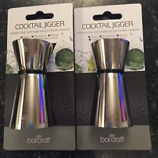 2 X BAR CRAFT STAINLESS STEEL COCKTAIL JIGGERS -  25 ML SINGLE AND 50ML DOUBLE M