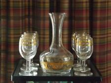 7 Pc. Culver Valencia Green Diamonds 22K Wine Glasses & Carafe Hollywood Regency