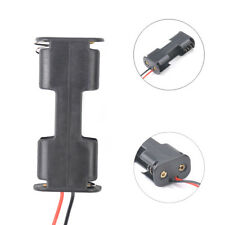 Hot 2Pcs Black Plastic Battery Holder Case w Wired For 2 x AA Batteries