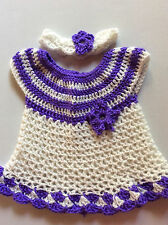 Handmade crochet WHITE baby dress +headband set NewborN-6 MONTHS-little SWEETIE