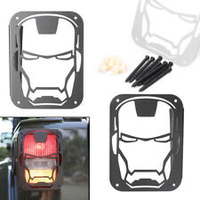 Pair Iron Man Tail Light Cover Guards Fit Jeep Wrangler Jk 07 16 Rear Protector