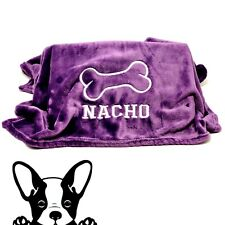 Purple Hand Made Embroidered Personalised Dog Blanket 2 sizes