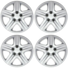 "4 Piece Metal Clips Snap On 16"" inch SILVER Hub Cap 5Lug Wheel Cover Caps Covers"