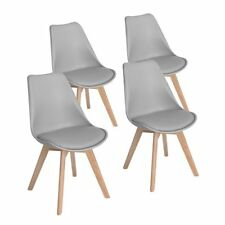 4X Grau Esszimmerstuhl aus Holz Beine Retro Kunstleder Esszimmer Wohnzimmer NEU