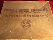 Vintage Childs  Electric Phonograph  Louis Marx Record Player Tin in Box