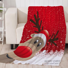 Christmas Theme Printed Super Soft Flannel Blanket Throw Rug for Sofa Couch