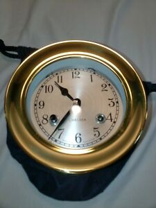 """Chelsea Shipstrike 4.5"""" Ships Bell Clock W/  Key-NEW-Never wound #40013 Brass"""