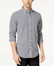 $270 TOMMY HILFIGER Men's CLASSIC-FIT BLUE WHITE CHECK LONG-SLEEVE LOGO SHIRT S