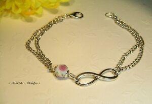 Armband silber INFINITY Frühling Rosen  ** handmade **
