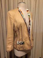 Roberto Cavali Ladies Beige Jacket Blazer Silk Floral Liner 42 Medium EUC Italy