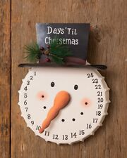 Snowman Face Count Down Days Christmas Advent Calendar Metal Bottle Cap Shaped