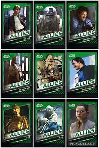 Topps Star Wars Digital Card Trader Green 9 Card Skywalker Saga Allies Set