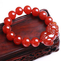 10mm Natural Red Agate Gemstone Pi Yao /Pi Xiu Feng Shui Bracelet For Wealth