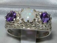 Solid Sterling Silver Genuine Opal & Amethyst English Filigree Trilogy Ring