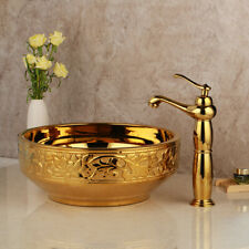 Vanity Gold Bathroom Ceramic Basin Bowl Combo Vessel Sink Mixer Faucet Drain Set