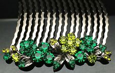 Green Black Blossom Formal Bridal Wedding Crystal Large Hair Comb Clip 8cm Long