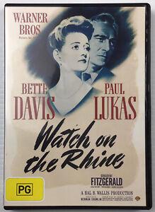 Watch On The Rhine 1943 DVD B&W Drama Thriller Bette Davis Paul Lukas Reg 4