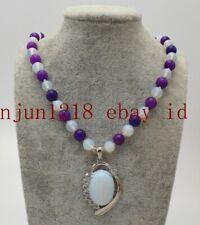 Natural 8mm Purple Sugilite White Moonstone Round Gemstone Pendant Necklace 18''