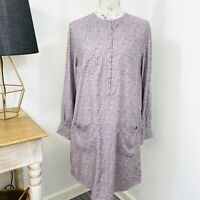 RM Williams Shift Dress Button Front Long Sleeve Modal Size 10 NWT