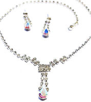 Austrian Crystal Rhinestone Choker Necklace Earring Set